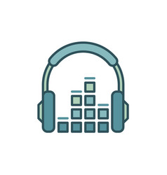 headphone with sound equalizer icon vector image