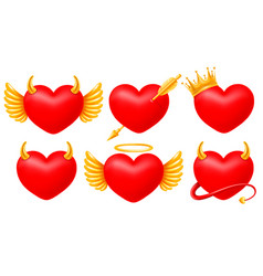 Hearts angel and devil set vector