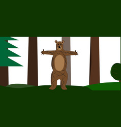 joyful bear in the forest vector image