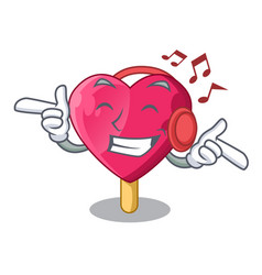 listening music heart shaped ice cream the cartoon vector image