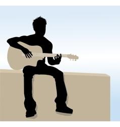 Man playing guitar vector