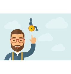 Man pointing the man in a wheelchair icon vector