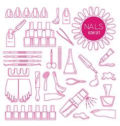 Manicure nail salon Icon set Thin line design vector