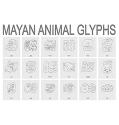 Mayan animal glyphs vector