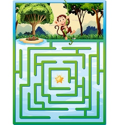 Maze puzzle with monkey in the jungle vector
