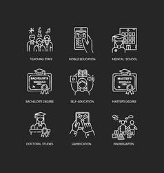Modern education chalk white icons set on black vector