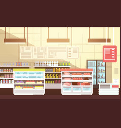 Modern super market empty interior flat vector