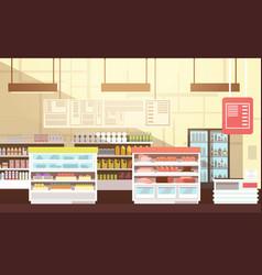 modern super market empty interior flat vector image