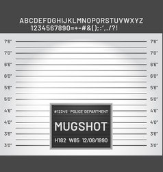 mugshot template police lineup mugshot board with vector image