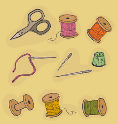 Objects sewing threads thimble scissors vector