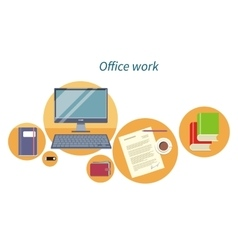 Office Work Concept Flat Design Icon vector image