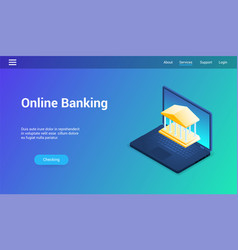 online banking lp template vector image