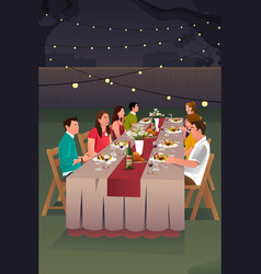 people having dinner outdoor vector image