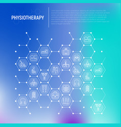 Physiotherapy concept in honeycombs vector