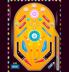 Pinball machine top view with in vintage style vector