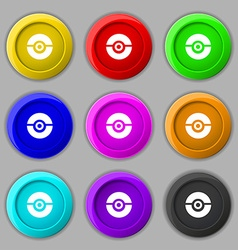 Pokeball icon sign symbol on nine round colourful vector