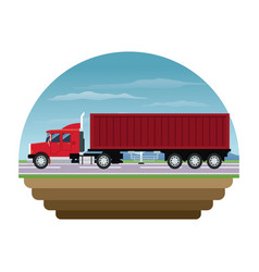 Red container truck shipping cargo stamp vector