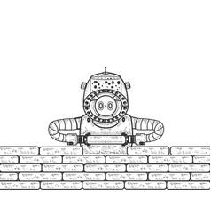 robot builder sketch engraving vector image