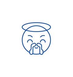 saint emoji line icon concept saint emoji flat vector image