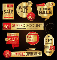 sale stickers and tags golden collection vector image