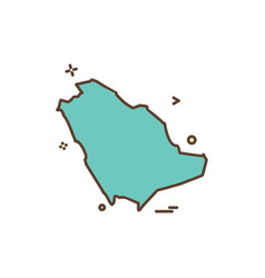 Saudia arabia map icon design vector