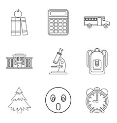School life icons set outline style vector