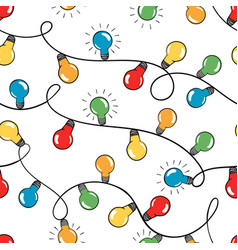 seamless pattern colorful christmas light vector image