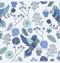 Seamless pattern floral bird blue monochromatic vector