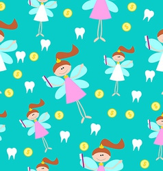 Seamless Pattern with Little Cute Tooth Fairy with vector image