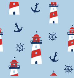 seamless pattern with nautical design elements vector image