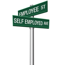 Self employed or employee street signs vector image