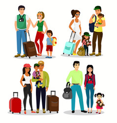 set happy people travelling vector image