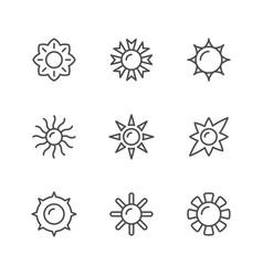 set line icons sun vector image