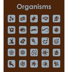 Set of organisms simple icons vector