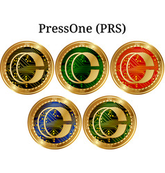 Set of physical golden coin pressone prs vector