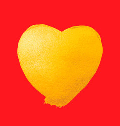 shining gold heart watercolor texture vector image