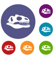 Skull of dinosaur icons set vector