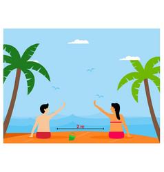social distancing on beach flat design concept vector image