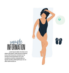 summer girl in swimwear laying on the vector image