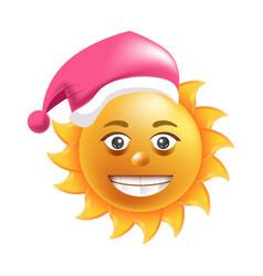 Sun smile santa hat cartoon emoticon summer vector