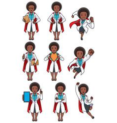 Super doc african female set vector