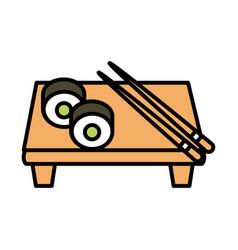 Sushi oriental menu rolls sticks in board line and vector