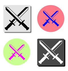 sword cross flat icon vector image