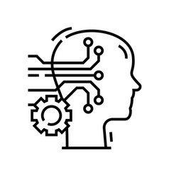 Synthetic intellect line icon concept sign vector