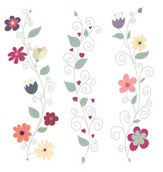 Three colorful floral borders vector