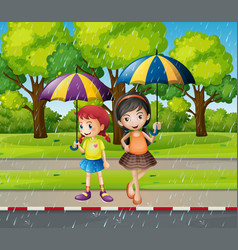 Two girls with umbrella in the rain vector