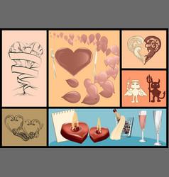 valentines day festive set vector image