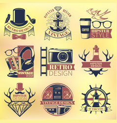 vintage hipster colored emblems set vector image