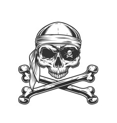 Vintage pirate skull without jaw vector