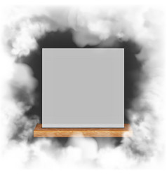 white frame on a wooden shelf vector image